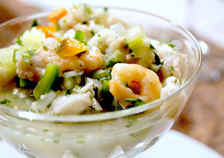 Ceviche de camarón en copa